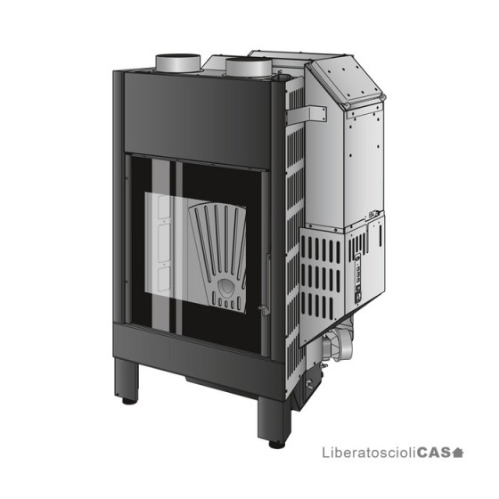 MONTEGRAPPA - STONE 01 + LIGHT 01 Caminetto monoblocco a pellet con porta ad anta - ad aria calda ventilata
