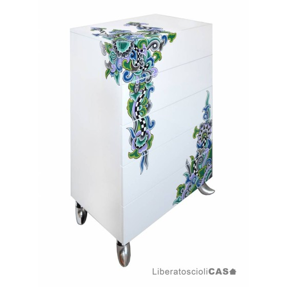 TOMS DRAG - CHEST OF DRAWERS L CASABLANCA SILVER LINE CASSETTIERA 5 CASSETTI