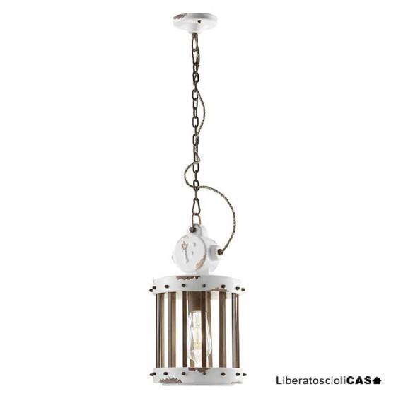 FERROLUCE - INDUSTRIAL LAMPADA A SOSPENSIONE VINTAGE BIANCO