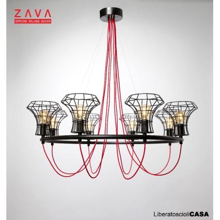 ZAVA - QUEEN CAGE LAMPADA A SOSPENSIONE 6 LUCI NERA DIAM 98CM