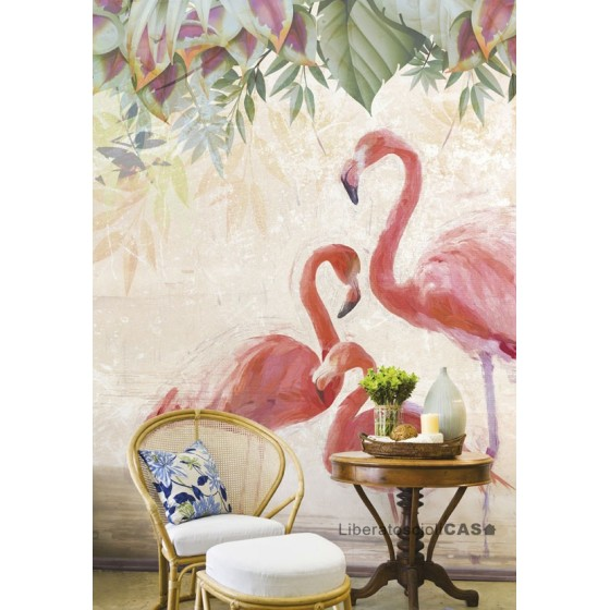 CARTA DA PARATI JUNGLE MOODS Flamingos party WALLPEPPER